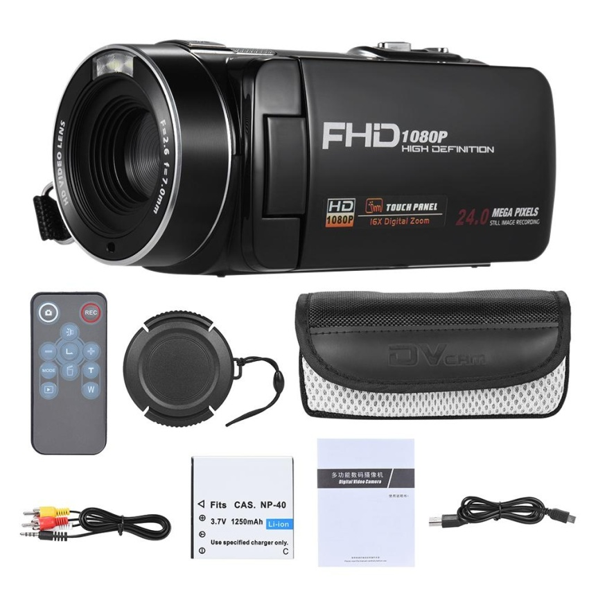 1080P Full HD Digital Video Camera Camcorder 16� Digital Zoom with Digital Rotation LCD Touch Screen Max. 24 Mega Pixels Support Face Detection – intl