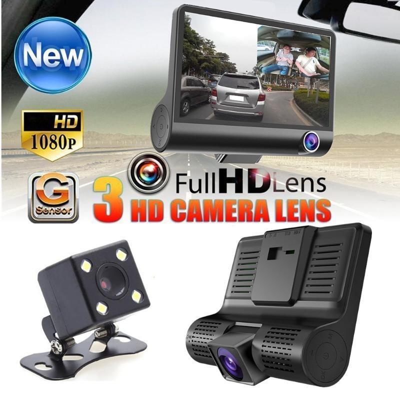 4 inch Car Camera DVR 3 Lens 1080P HD 170 Wide Angle Car DVR Dash G-sensor with Rear view Cam Car Recorder Registrar Car Styling
