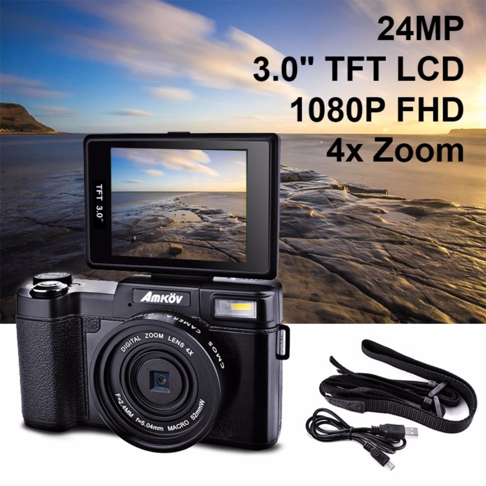 Amkov 24MP Digital Camera FHD 1080P Video 3″ LCD Camcorder with UV Filter – intl