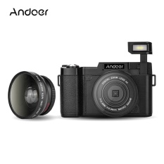 Andoer CDR2 1080P 15fps Full HD 24MP Digital Camera 3.0″ Rotatable LCD Screen Anti-shake 4X Digital Zoom Built-in Retractable Flashlight Video DV Recorder Cam Camcorder w/ Wide-angle Lens & UV Filter – intl