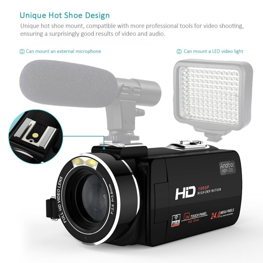Andoer HDV-Z20 1080P Full HD 24MP WiFi Digital Video Camera Camcorder with External Microphone 3.0