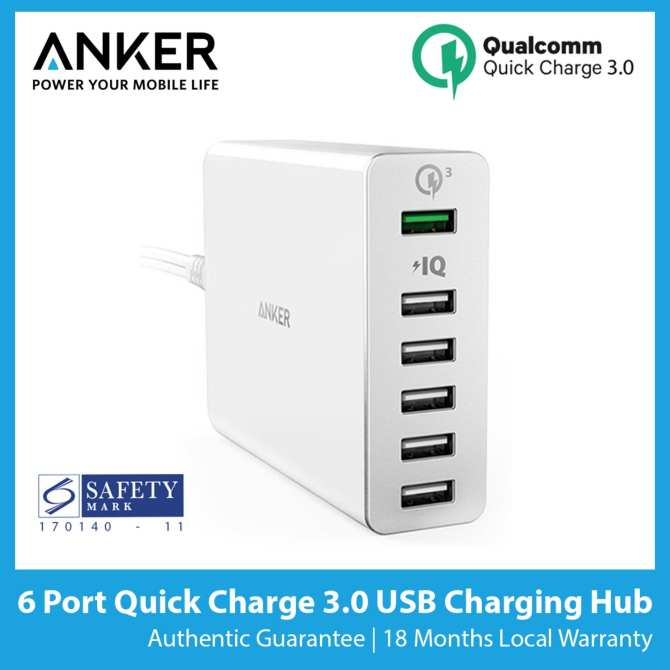 Anker PowerPort+ 6 (6 Port) Quick Charge 3.0 USB Charger [SG Plug] - Best Seller
