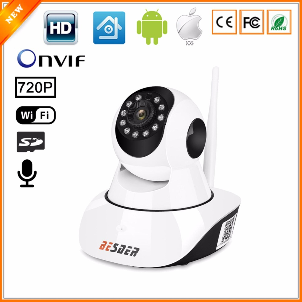BESDER 720P Wifi 360 Camera Pan Tilt Wireless IP Security Camera Baby Monitor Camera Support Night Vision Motion Detection Phone Alert Two Way Audio SD Card Max 32G(NOT INCLUDED) – intl