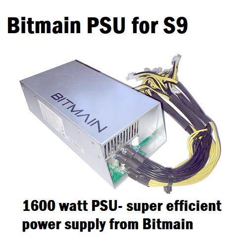 Bitmain S9 Bitcoin Miner 13.5TH with original PSU @93% efficiency