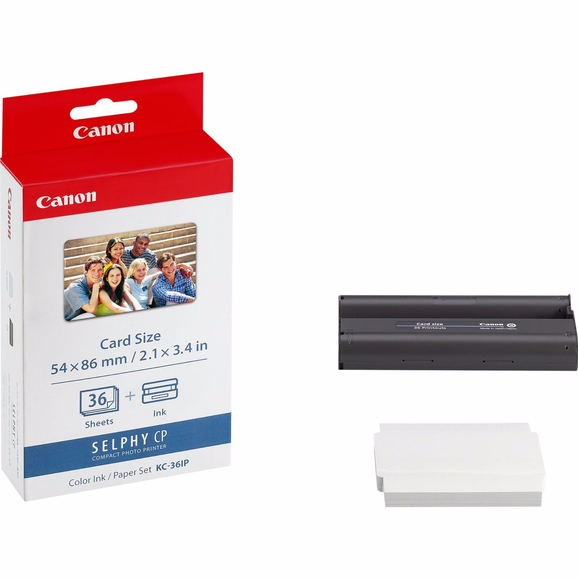 Canon KC-36IP Photo Ink and Paper Set KC36 KC36IP 36 Sheets Compatible with Selphy CP Series Printers 54 x 86mm credit card Size CP780 CP790 CP800 CP810 CP820 CP900 CP910 CP1000 CP1200 CP1300 CP1400 Requires PCC-CP400 PCCCP40 PCC CP400