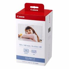 Canon KP-108IN Photo Ink Cartridge and Paper Set KP108 KP108IN 108 Sheets Compatible with Selphy CP Series Printers 100 x 148mm Postcard Size CP780 CP790 CP800 CP810 CP820 CP900 Printer