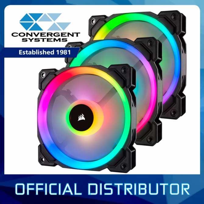 Corsair LL Series LL120 RGB 120mm Dual Light Loop RGB LED PWM Fan — 3 Fan Pack with Lighting Node PRO