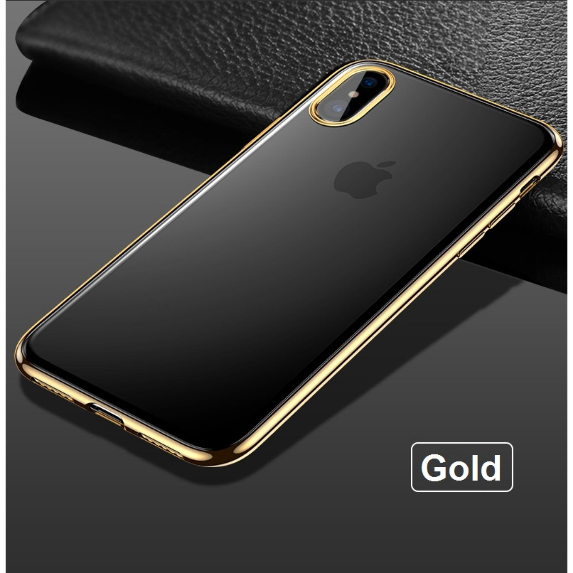 (Gold) iPhone XS / X Ultra Slim Shell Plated Border Case Casing Cover