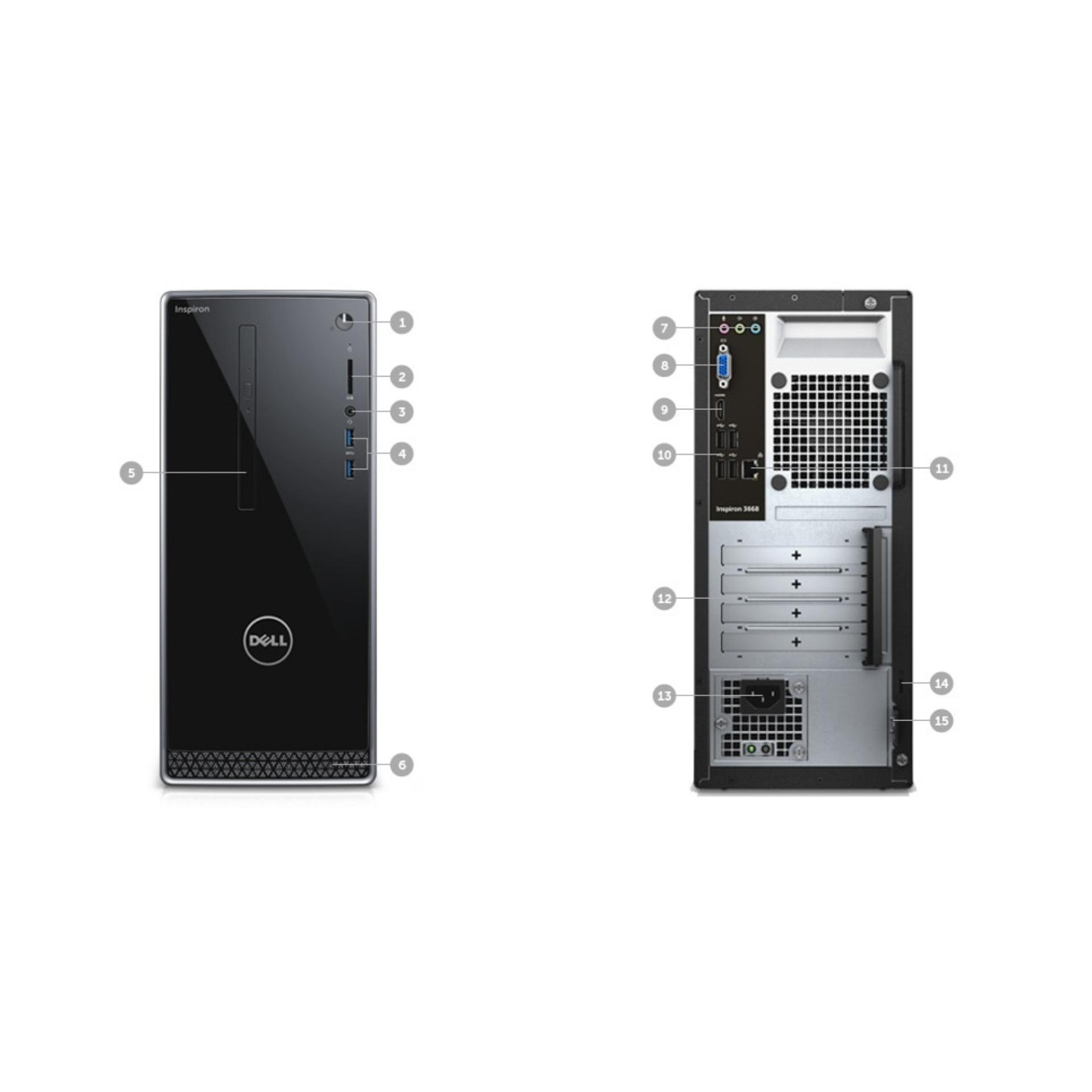 INSPIRON DESKTOP 3668 New 7th Gen Intel Core i5 7400 8GB RAM 128GB SSD+ 1TB NVIDIAR GeForceR GT 1030 with 2GB GDDR5 Graphics Memory