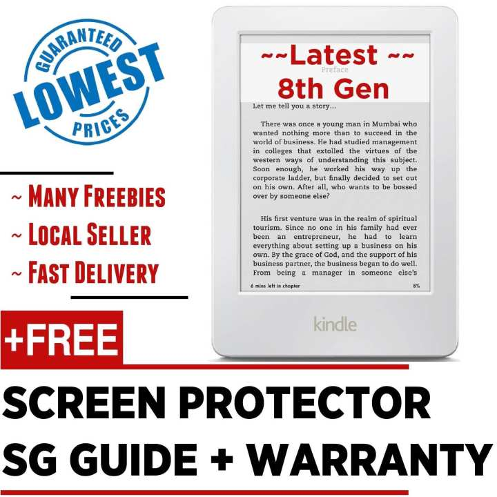 Latest 2017 Amazon Kindle 8th Gen + Screen Protector + SG Tutorial Guide + Warranty