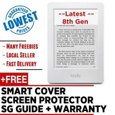 Latest 2017 Amazon Kindle 8th Gen + Screen Protector + Smart Wake Leather Cover + SG Tutorial Guide + Warranty