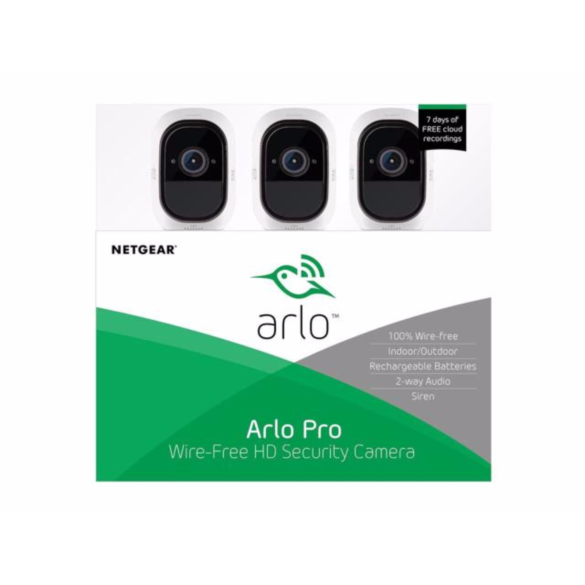 NETGEAR VMS4330 Arlo Pro Security System 3 Rechargeable Wire-Free HD Night Vision Indoor / Outdoor Security Camera with Audio and...