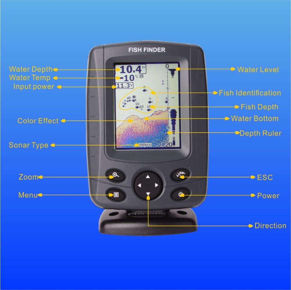 Portable Outdoor Fishing Tool Sonar Sensor 300M 1000ft Depth Detection Fish Finder