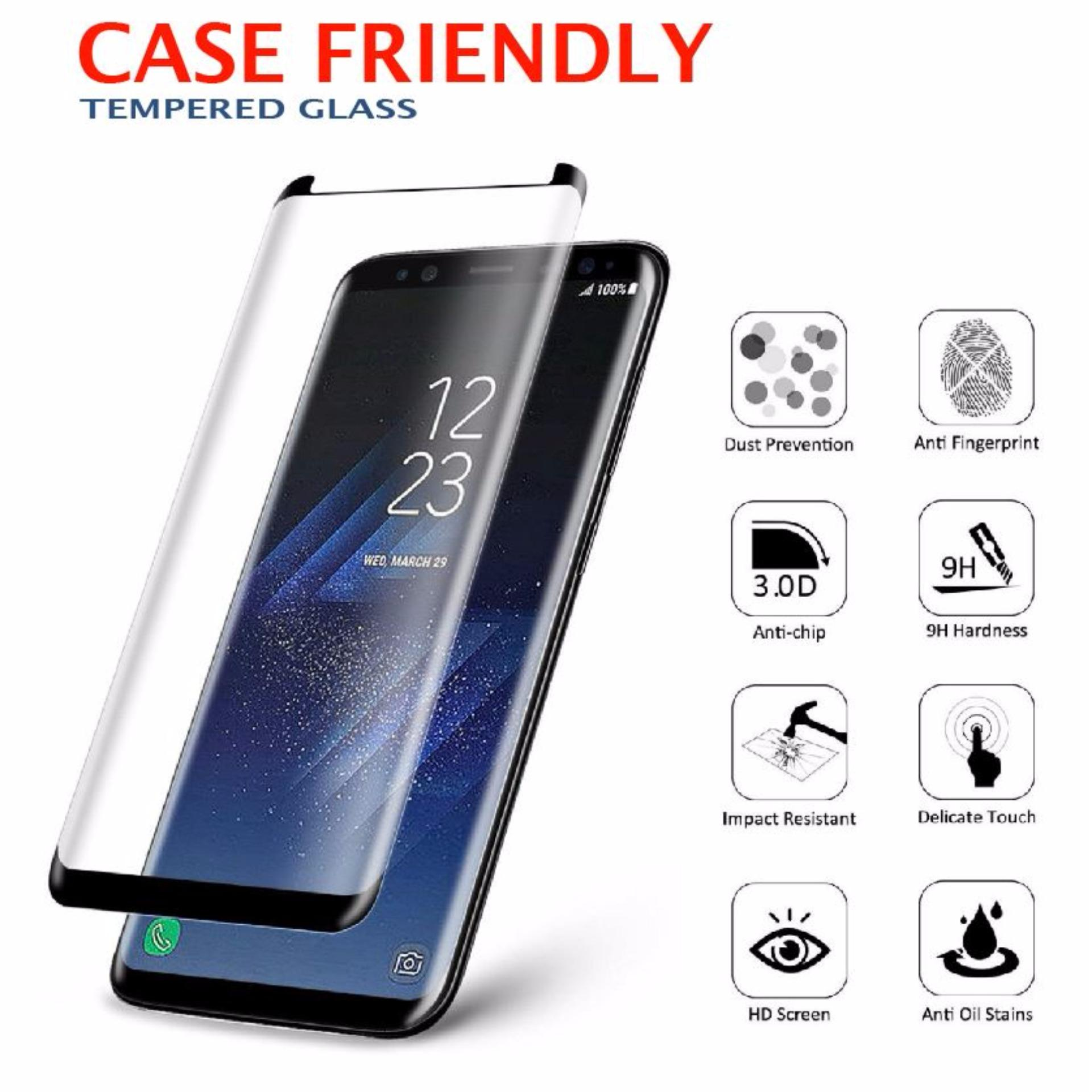 Samsung Galaxy S8 Case Friendly 3D 9H Tempered Glass Screen Protector Protective Film