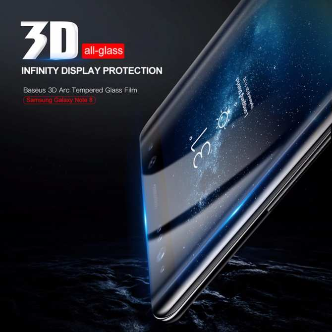 Screen Protector For Samsung Galaxy Note 8 Note8 Baseus 3D Arc Tempered Glass For Galaxy Note 8 Full Protective Glass Film - intl