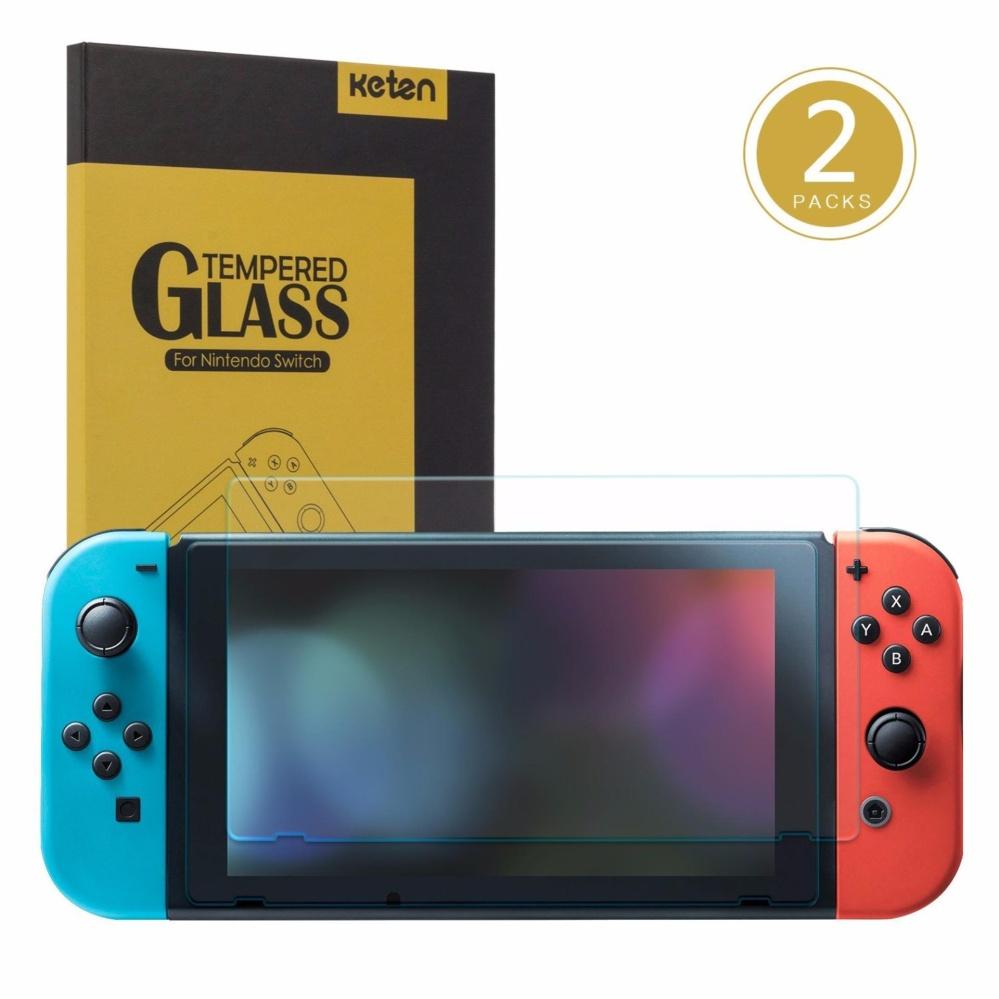 Nintendo Switch Screen Protector 2-Pack, Keten Switch Screen Protector Tempered Glass 9H Hardness/ Bubble Free/ Anti-Scratch/ Anti-Fingerprint Protective Screen Protector for Nintendo Switch 2017