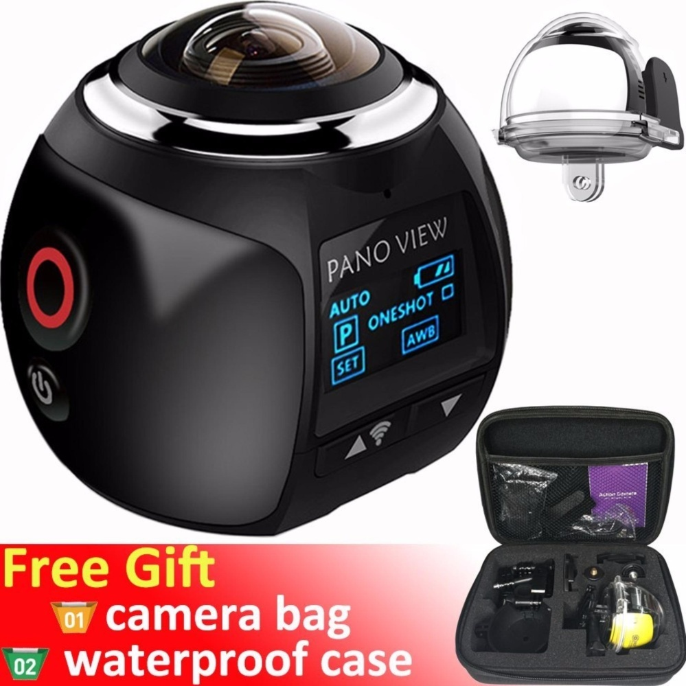 Wireless 360 Degree Panoramic Camera 3D VR Live Video Full View Action Sports Camera with WiFi Waterproof 16MP 4K HD 0.96inch Screen 30fps 230° Large Lens Mini DV Player (Black) – intl