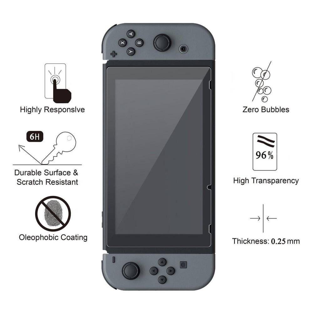 Womdee Nintendo Switch Tempered Screen Protective Glass, Full Coverage Screen Protector For Nintendo Switch 2017, 2 Pack - intl