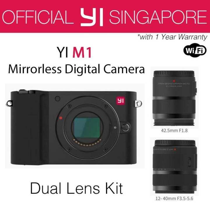 YI M1 Mirrorless Digital Camera with 12-40mm F3.5-5.6 Lens / 42.5mm F1.8 Lens Storm Black (International Edition)