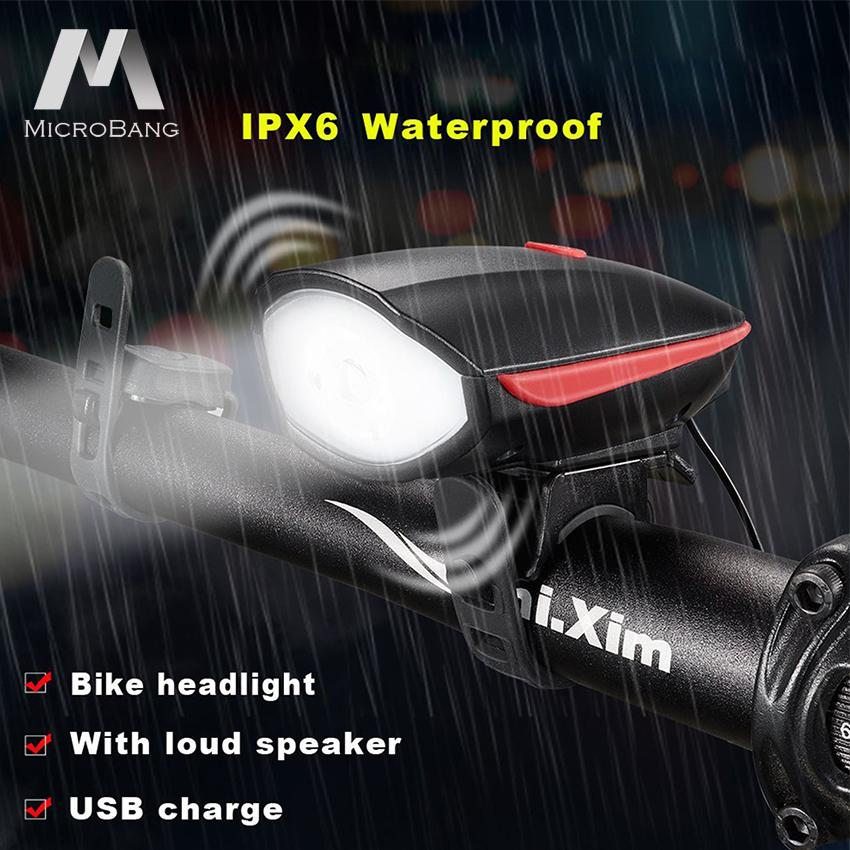 MicroBang ไฟหน้าจักรยาน ไฟจักรยาน Bike Lights Set Bicycle Headlight With Horn 120 Db And Tail Light, Ultra Brightness And Waterproof LED Bike Light, Easy To Install For Cycling Safety Flashlight