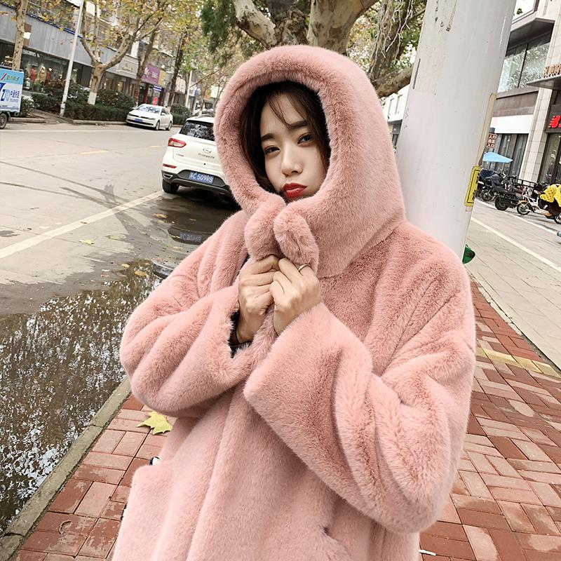 Lông Thỏ Áo Lông Áo Khoác Nữ Mới 2019 Khoản Đông Giả Lông Chồn Nước Chíp Bông Áo Kiểu Lửng Dày Hơn Big Size Trẻ