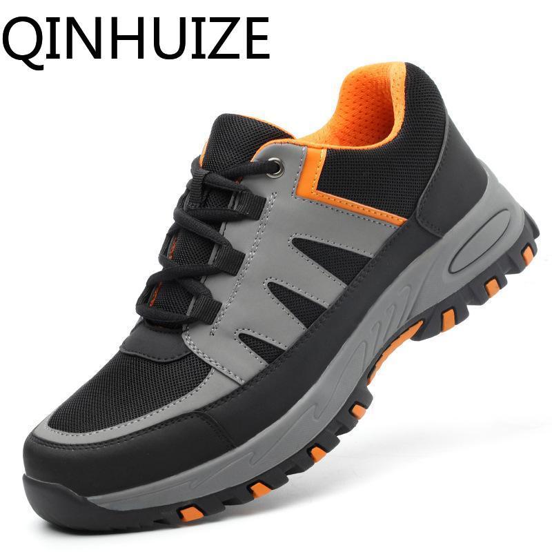 QINHUIZE Giày bảo hộ lao động an toàn khử trùng thoáng khí cho nam, chống trơn trượt – INTL