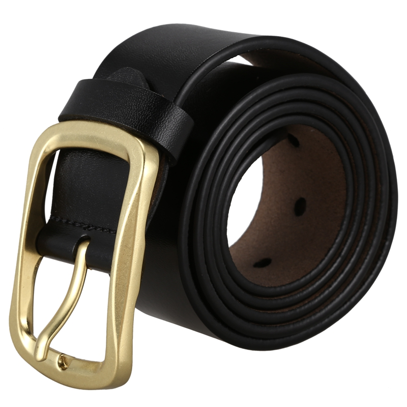 Men's Belt PU Leather Japanese Word Buckle Youth Pants Belt Fashion Business Belt Black