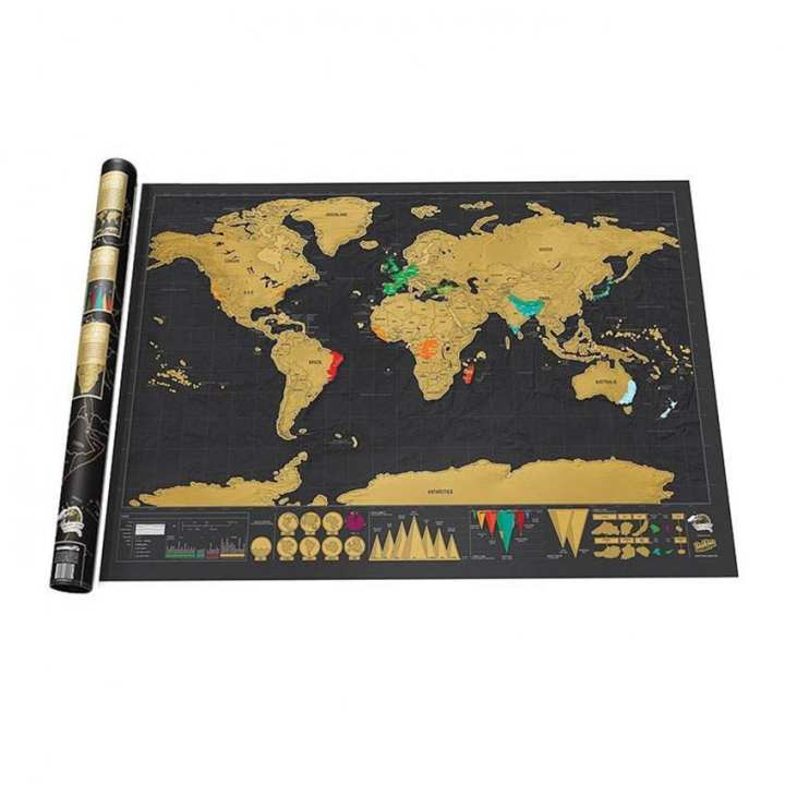 88x52cm Deluxe Travel Edition Scratch World Map Poster Black Gold