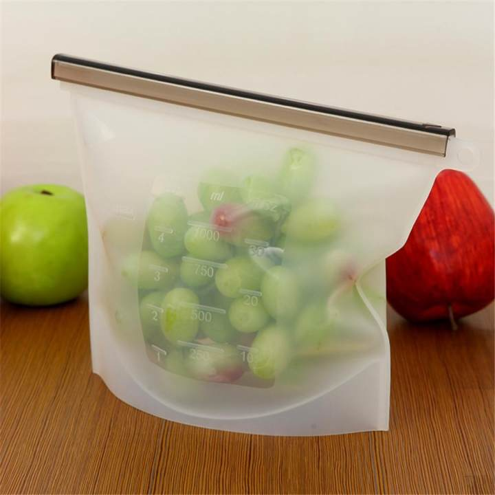 Sunyoo- Reusable Silicone Vacuum Keep Fresh Food Preservation Storage Bag Ziplock Wraps -White - intl