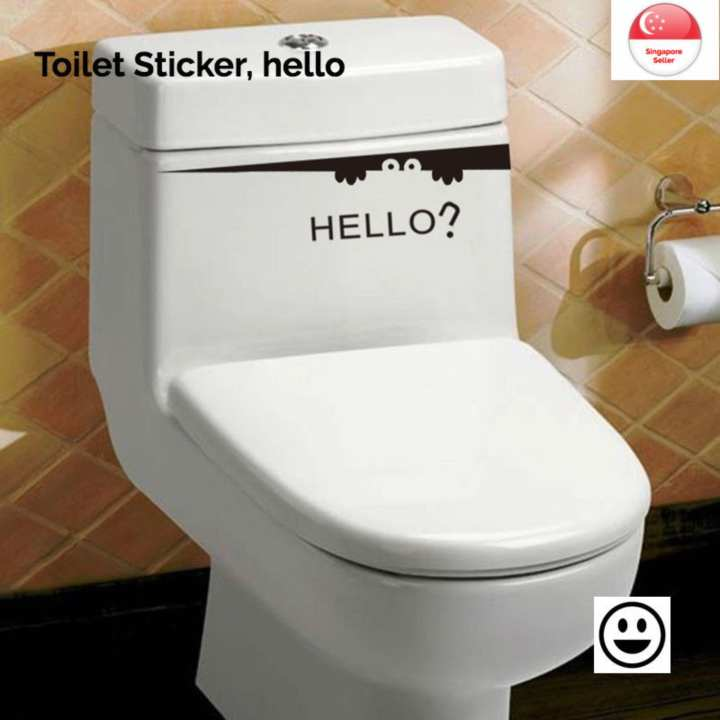 Toilet Sticker, hello - bathroom, decals, decoration, art, fun, DIY, removable, good quality
