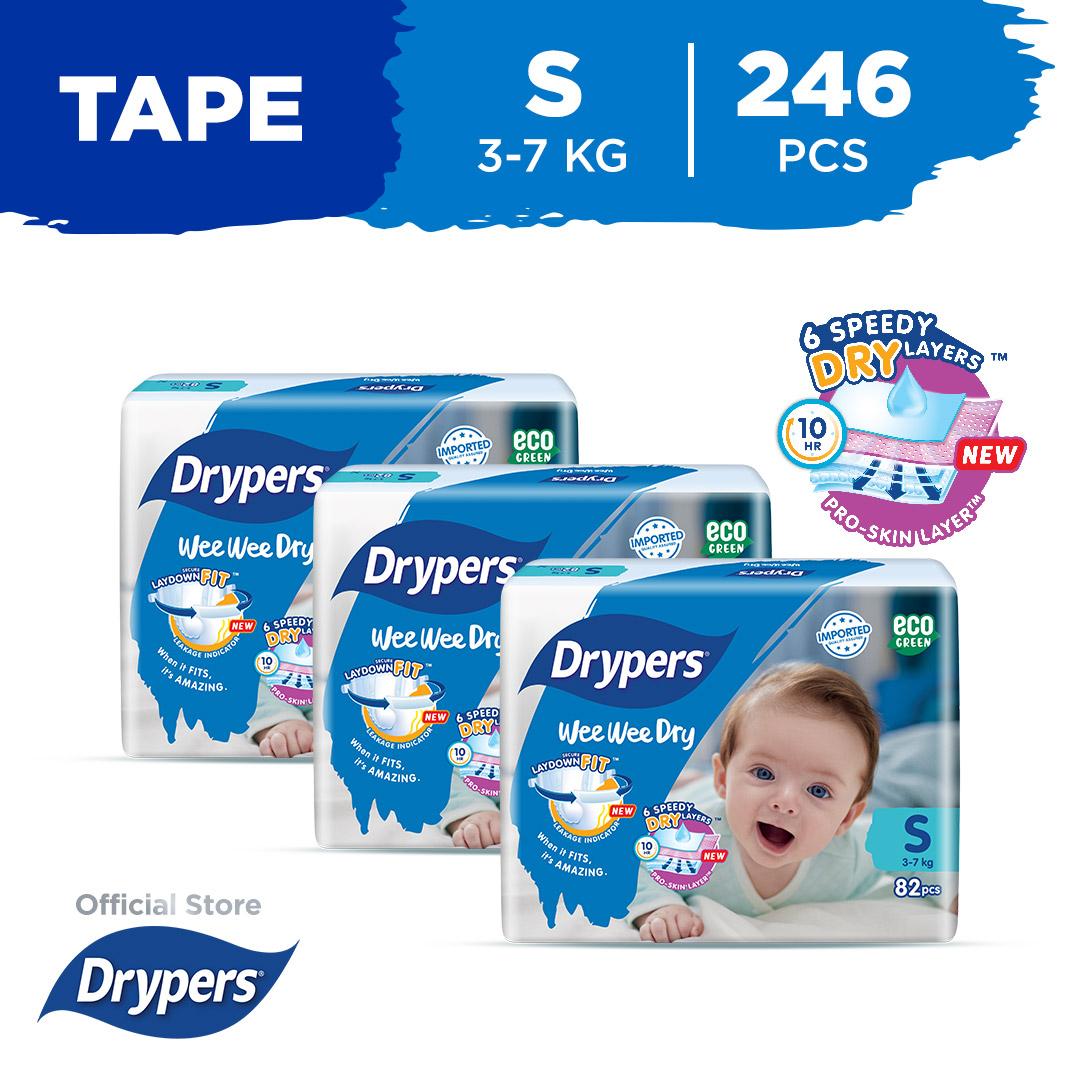 Drypers Wee Wee Dry S 82S X 3 Packs (3 - 7Kg) 246Pcs/Box