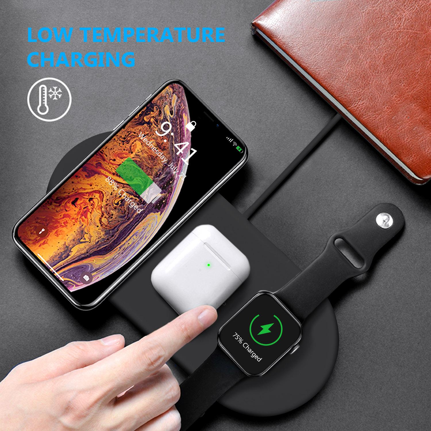 [SG Seller] 3in1 Qi Wireless Charger for Apple Watch,Airpods 2,iPhone 11/11 Pro/11 Pro Max/XS Max / XR /XS/ X / 8/8 Plus,Samsung Galaxy/Huawei/Xiaomi