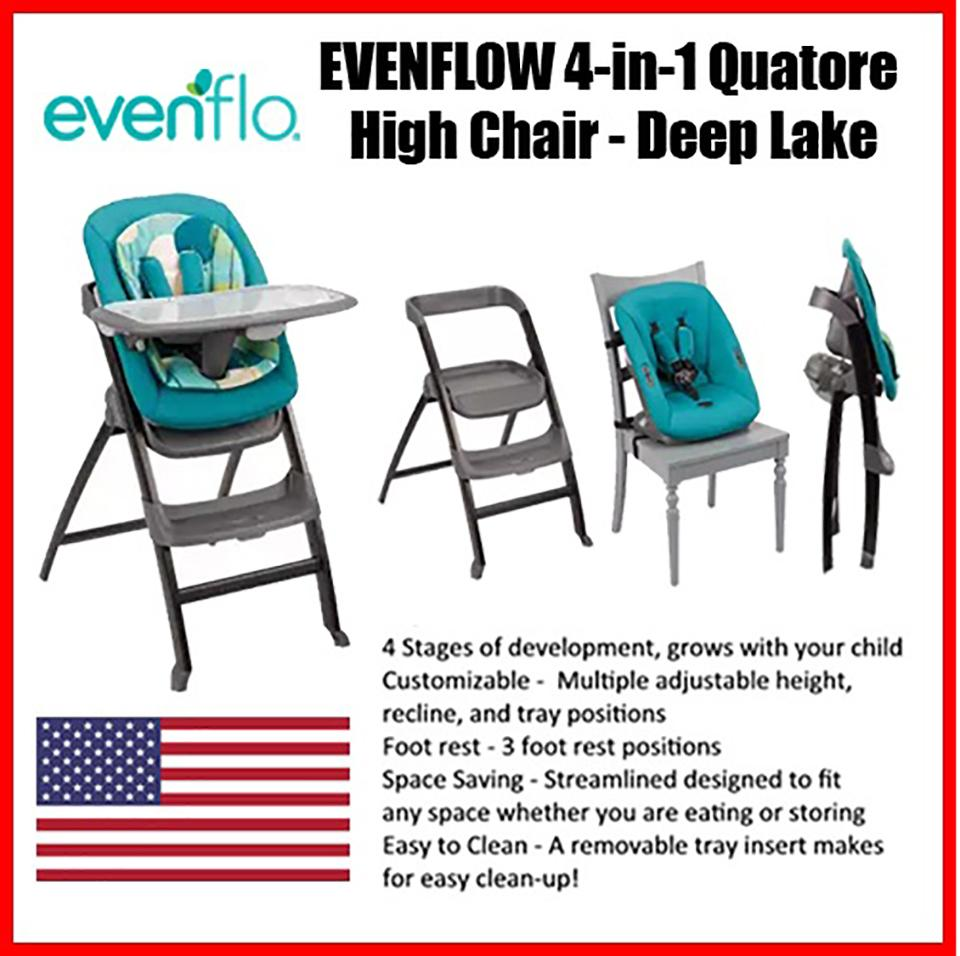 EVENFLO 4-in-1 Quatore High Chair (Deep Lake) – 17.7 x 14.8 x 44.9 inches