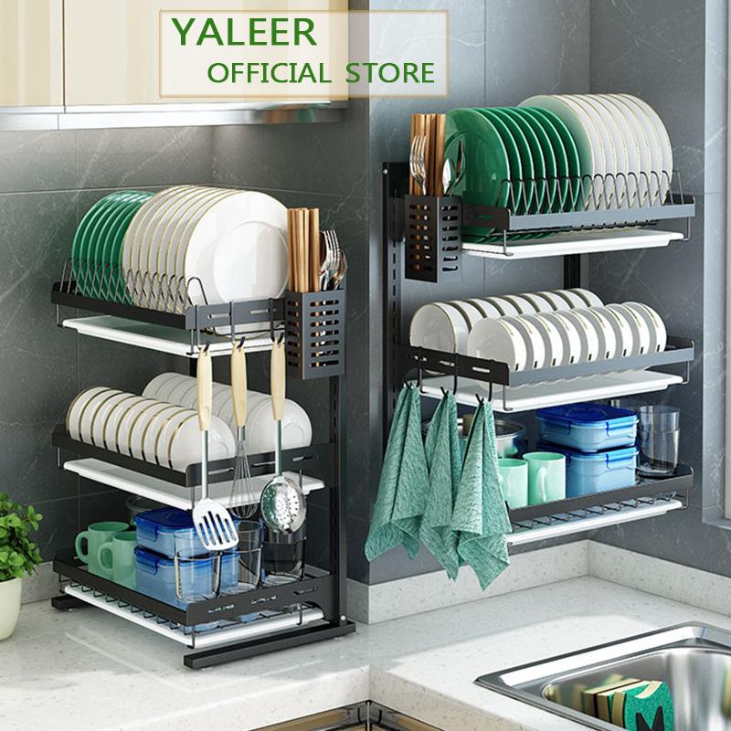 yaleer kitchen dish rack wall hanging black 2 3 tier stainless steel kitchen organizer dish drying rack storage over sink bowls drainer utensils