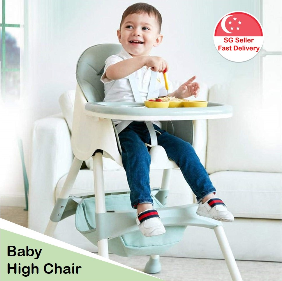 Baby Chair – Multifunction Baby High Chair, Toddler Feeding Highchair with Removable Adjustable Tray Backrest Storage Basket Height Adjustable High Chair for Infant Kids