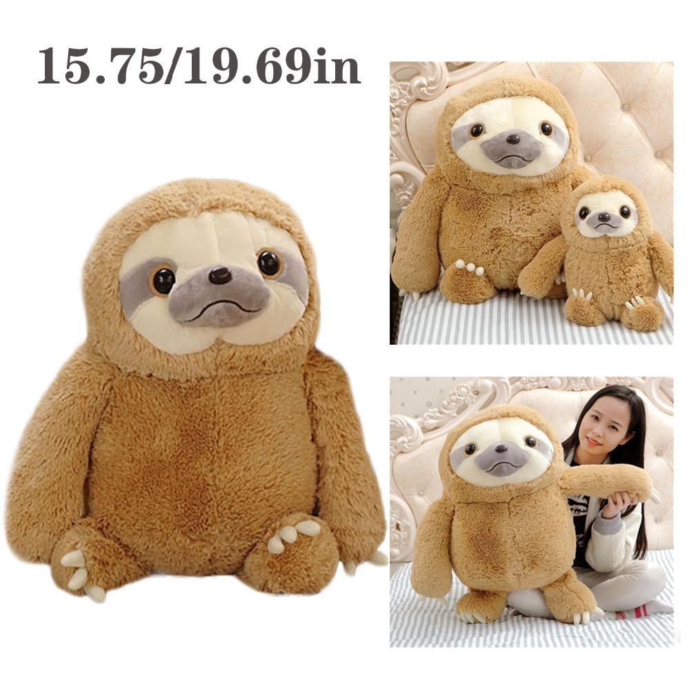 Cute Fluffy Sloth Stuffed Animal Toy Gift with Toed Animals Plushie Pillow kid Toy 【COD】