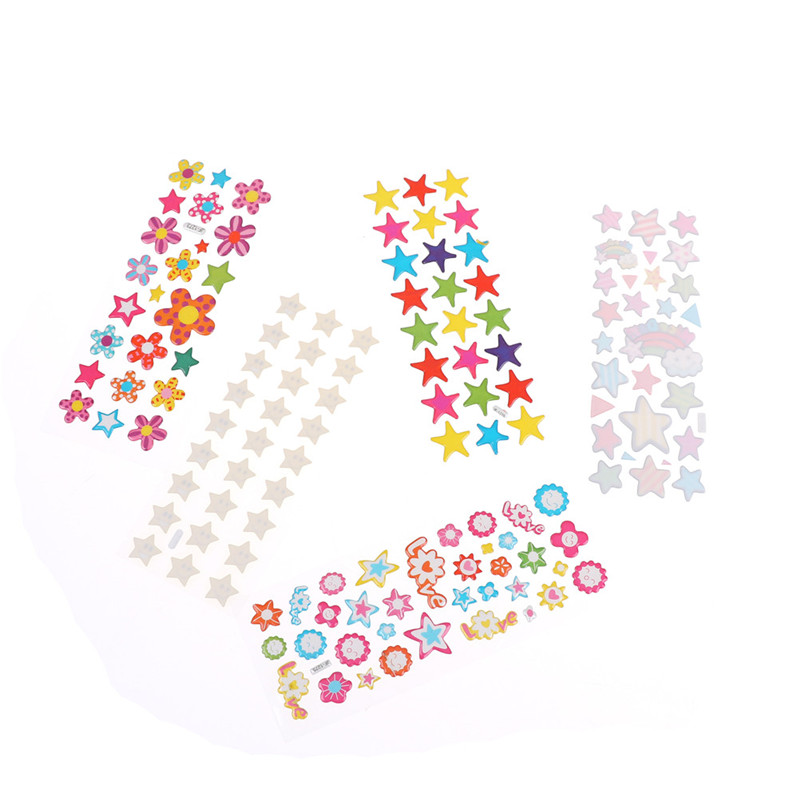 5Pcs//Lot Cute Star Flower Bubble Stickers Cartoon Kids Classic Toys Stickers TO