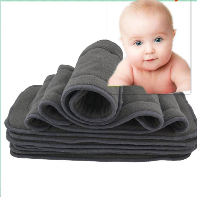 10Pcs Baby Infant Cloth Diaper Inserts with 2 Layers Charcoal Bamboo Reusable Liner Washable Super Water Absorbent Antibacterial Diapers for New Born Baby Gift Kit Specification:35*14 - intl