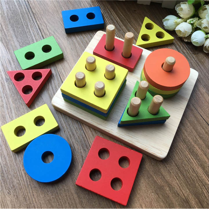 Wooden pillar shapes matching toy set for baby