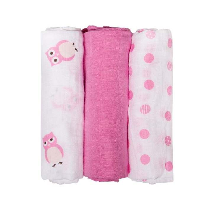 3Pcs Set 70*70cm Muslin Cotton Baby Swaddles - intl