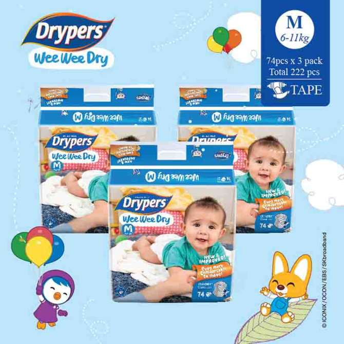 Drypers Wee Wee Dry M 74s x 3 packs (6 - 11kg) 222pcs/box