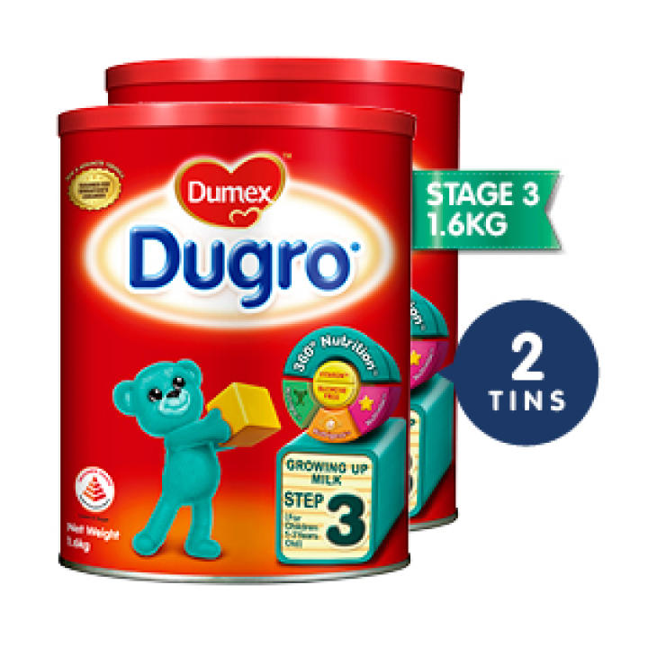 Dumex Dugro Regular, Step 3 Baby Milk Formula 1.6kg (2 Tins)