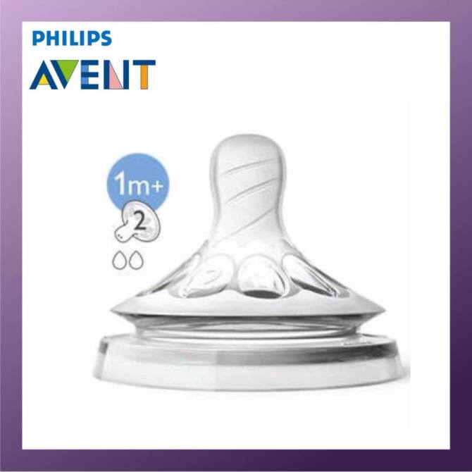 PHILIPS AVENT Natural Teats 2 Hole Slow Flow 1M+ Twin Pack