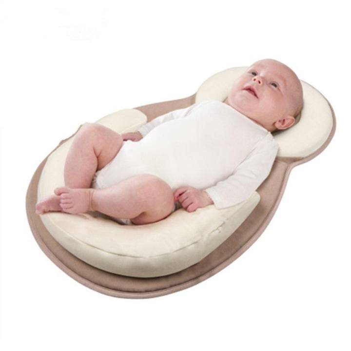 Sanling Baby Cotton Safe Sleep Pad Mat Positioner Pillow Anti Roll Sleeping Nest - intl
