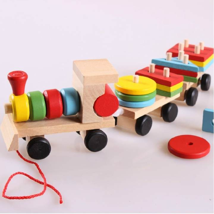 Youdele three section shape train wooden train