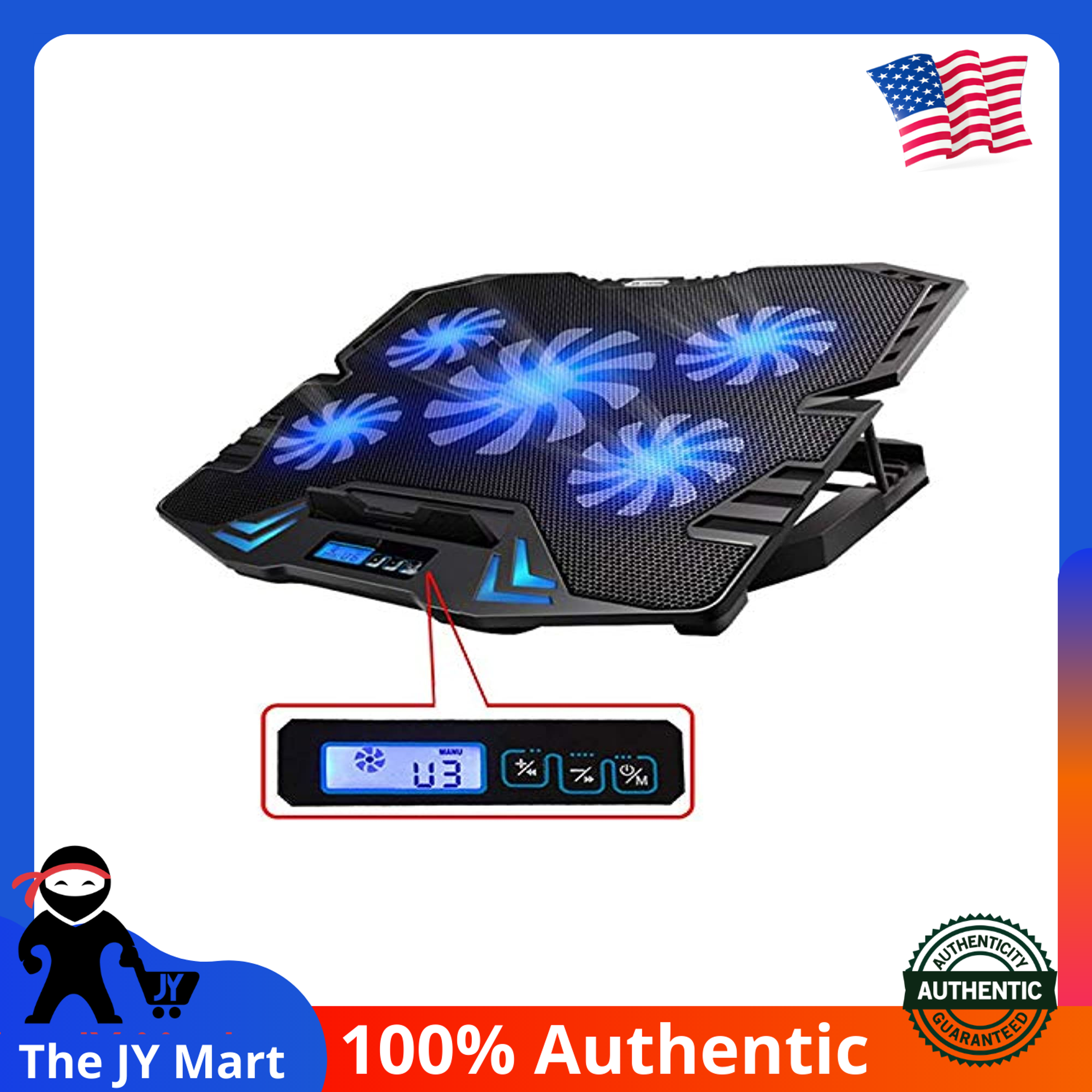 Topmate C5 12 15 6 Inch Gaming Laptop Cooler Cooling Pad 5 Quiet Fans And Lcd Screen 2500rpm Strong Wind Designed For Gamers And Office Lazada Singapore
