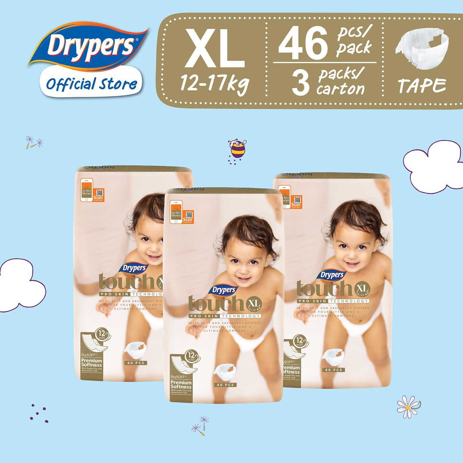Drypers Touch XL (12 - 17kg) 46s x 3 packs 138pcs
