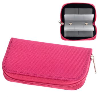 Portable 22 Slots SD SDHC MMC CF Micro SD Memory Card Holder Pouch Case Zippered Storage Bag Protector (Rosy)
