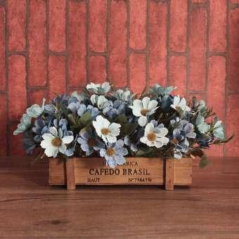 แนวอเมริกันดอกไม้จำลองรั้วไม้เครื่องประดับชนบทเรียบง่ายดอกไม้ปลอมดอกไม้ตกแต่งที่รับแขกระเบียงโต๊ะชา Asian Creative Luxury Art Works เซต