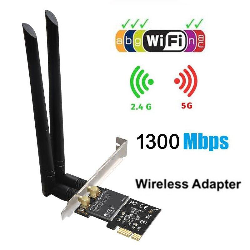 Wireless lan Card 802.11ac 867Mbps + 300Mbps PCI Express Desktop WiFi Adapter PCI Network Card for PC wifi Card wi fi receiver XT Store